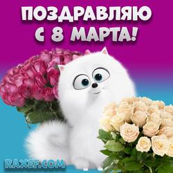 Открытка на 8 марта с розами! Розы, букет роз! Картинка с 8 марта!