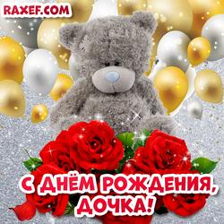 Открытка с днем рождения дочери! Мишка и розы! Картинка дочке! Любимой доченьке! Тедди и воздушные шарики!