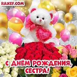 Открытка с днем рождения сестре! Открытка с розами, мишкой Тедди и воздушными шариками!
