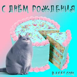 Открытка с кошкой Хлоя! С днём рождения женщине, девушке, девочке! Торт!