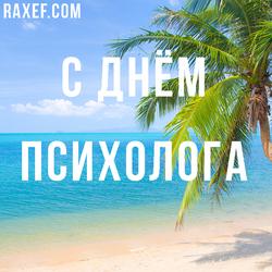 С днем психолога (открытка, поздравление)! Картинка с морем и пальмами на день психолога.