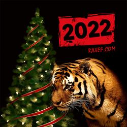 С новым 2022 годом! С новым годом тигра! Открытка, картинка!