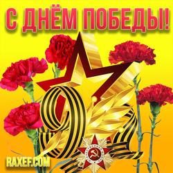Открытка на день победы со звездой и красными гвоздиками! 9 мая! Картинка на ярком фоне! Скачать...