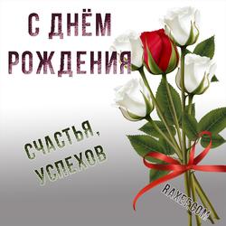 Открытка с розами. Букет роз. С днём рождения женщине! Картинка с красивыми надписями и пожеланием счастья и успеха!...