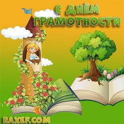 С днём грамотности! Открытка сказочная! Картинка с книгами и принцессой!