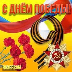 С днём победы, с 9 мая! Красивая картинка на праздник с георгиевской лентой, красными гвоздиками и...