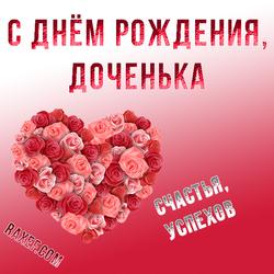С днём рождения, доченька! Открытка с сердечком из розочек! Розы для дочки! Картинка! Вы можете скачать мою открытку...