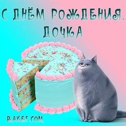 С днём рождения, дочка! Открытка с кошкой Хлоя из Тайная жизнь домашних животных! Картинка очень нежная, выполнена в...