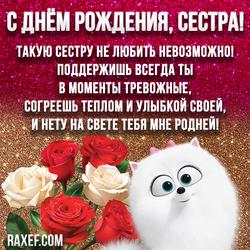 Стихи с днем рождения сестре! Открытка! Картинка с блестками и розами, с собачкой Гиджет!