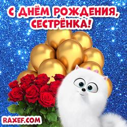 Картинка с днем рождения, сестренка! Блестящая открытка с розами, золотыми воздушными шариками и собакой Гиджет!