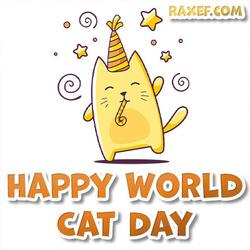 Открытка на день кошек! Картинка на английском языке! Поздравление на английском!