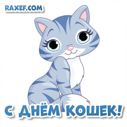 Открытка на русском языке на день кошек! Картинка! Стих!