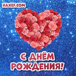 Открытка с днем рождения женщине! Картинка с красными розами в виде большого сердца!