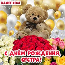 Открытка с днем рождения, сестра! Розы, мишки, шарики!