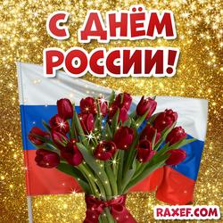 Открытка с днём России! Открытка с флагом РФ и красивыми красными тюльпанами! Картинка! Тюльпаны! Цветы!