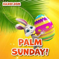 Открытка с вербным воскресеньем! Картинка на английском языке! Красивая открытка с пальмовой веткой и милым зайцем!