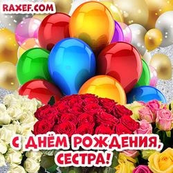 Открытки с днем рождения сестра! Картинка с воздушными шариками и розами! Розы! Цветы!