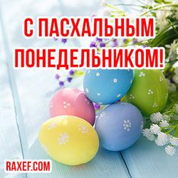 Пасхальный понедельник! Красивая открытка с пасхальными яйцами!