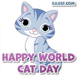 С днём кошек! Красивая открытка на английском языке!
