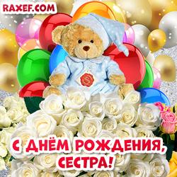 С днем рождения, сестра! Открытка с милым плюшевым мишкой, белыми розами и яркими цветными воздушными шарами! Картинка для сестры!