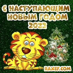 С наступающим новым годом 2022! Открытка! Картинка с тигром! Тигр!