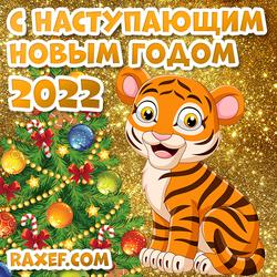 С наступающим новым годом тигра! Открытка 2022! Картинка с тигром на новый год!