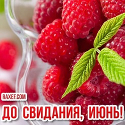 Картинка, открытка! До свидания, июнь! Скачать можно бесплатно! Нежные ягоды малины для вас!