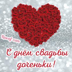 Красивая открытка маме с днём свадьбы дочки! Картинка с сердечком из красных роз! Маме невесты! Красивое поздравление без лишних слов!