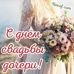 Поздравление со свадьбой дочери для мамы! Открытка с невестой и букетом цветов! Нежная открытка маме невесты!