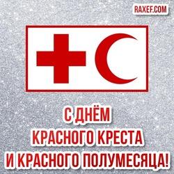 С днём Красного Креста и Красного полумесяца! Картинка! Открытка на серебряном фоне с красивой надписью!